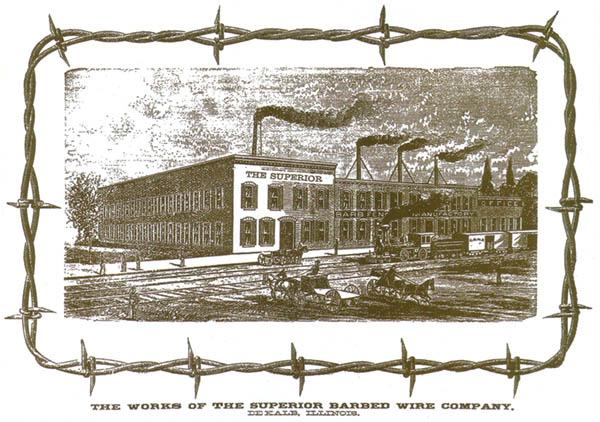 Advertentie  van een prikkeldraadfabriek, ca. 1885. Bron: www.farmcollector.com