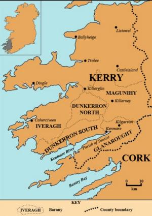Situering van County Kerry in Ierland