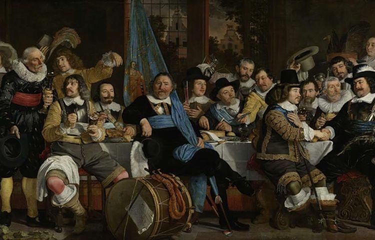 Schuttersmaaltijd na de ondertekening van het Verdrag van Münster op 18 juni 1648. Door Bartholomeus van der Helst, bron: Rijksmuseum