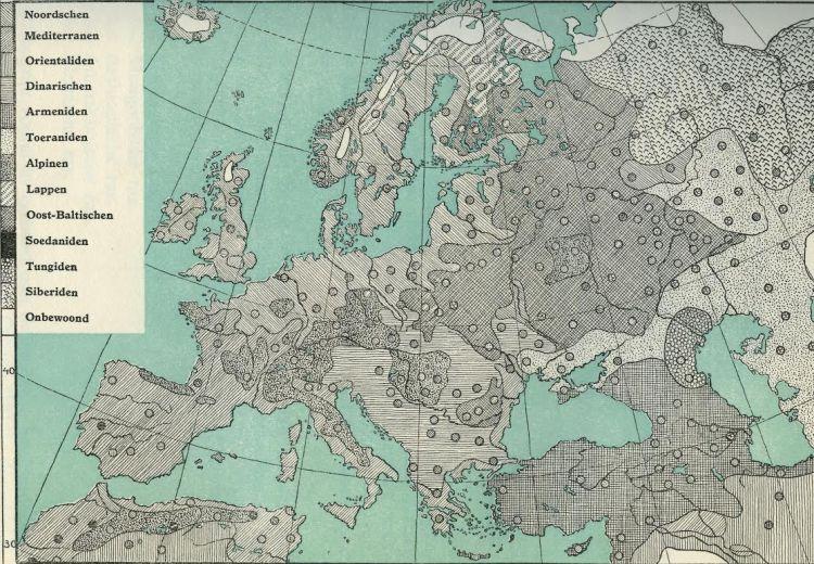 Verdeling van de Europese rassen volgens de Duitse rassentheoreticus Egon von Eickstedt. Illustratie uit: S.R. Steinmetz e.a., De rassen der mensheid. Wording, strijd en toekomst. (Amsterdam 1938).