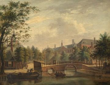Johannes Jelgerhuis, Het Aalmoezeniers-weeshuis, gezien vanaf de Prinsengracht over de verbindingsbrug van de Leidsegracht, 1824