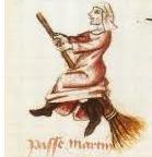 Een van de eerste afbeeldingen van een heks op een bezem dateert van 1451 (Martin Le France)