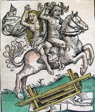 In verschilende Peellandse bekentenissen gaat het over reizen door de lucht naar heksenfeesten, te paard of op de schouders van de duivel. (Kroniek van Neurenberg)