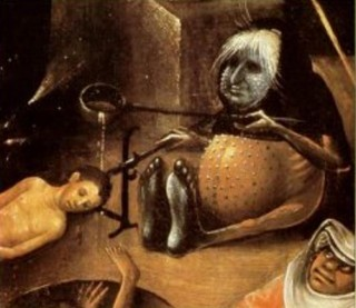 Schilderij Jheronimus Bosch met daarop een slachtoffer van moederkoorn. Bron: zuiderzeehoorn.nl