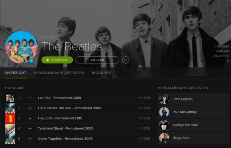 The Beatles op Spotify