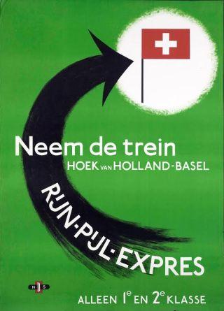Affiche Rijn-Pijl-Expres, ca. 1952 (Spoorwegmuseum)
