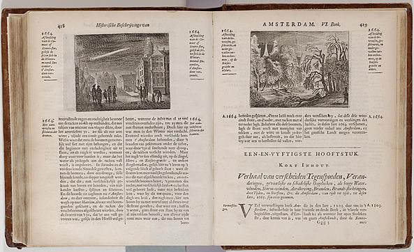 Het verhaal over de ijzel van 1664  door Tobias van Donselaer in 'Beschryvinge van Amsterdam' (1665). Op de illustratie rechts zijn  wordt de vorstschade langs de Amsterdamse grachten in beeld gebracht. (Illustratie Stadsarchief Amsterdam)