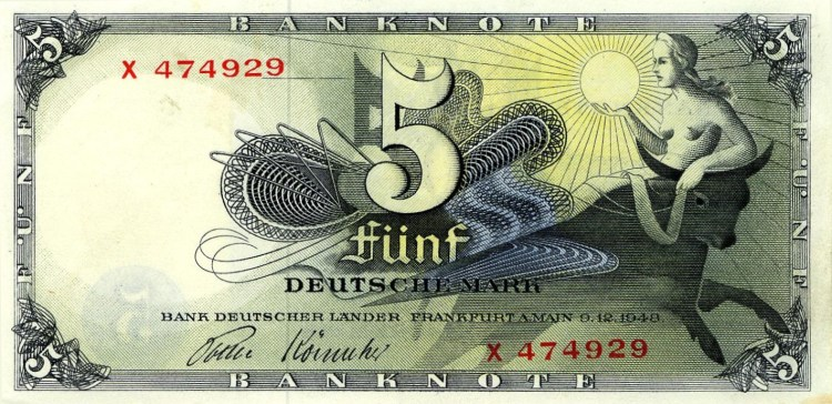 Europa en de stier op een oud Duits bankbiljet