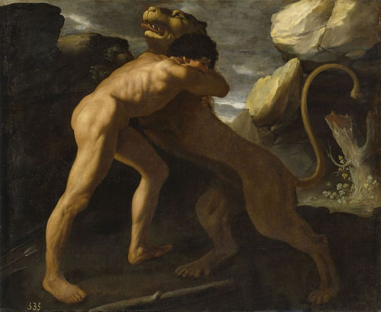 Herakles (Hercules) en de leeuw van Nemea - Francisco de Zurbarán, 1634