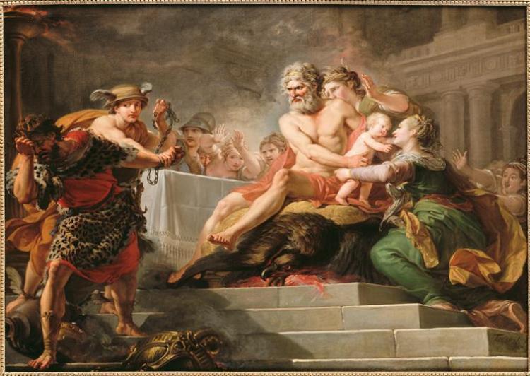Tantalus wordt weggevoerd tijdens het feestmaal waarbij hij de goden zijn eigen zoon voorzette - Hugues Taraval, 1767