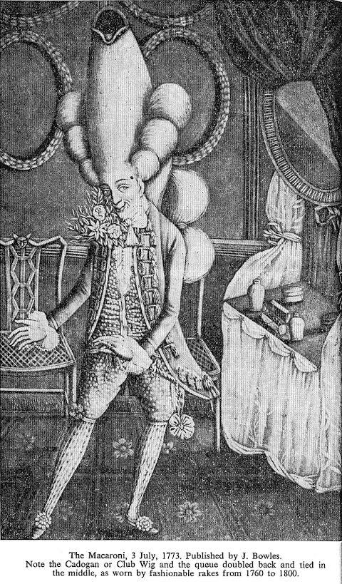 Macaroni kledingstijl, 1773. Bron: estherlederberg.com