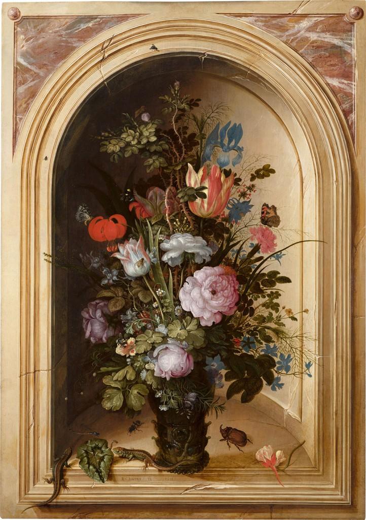Vaas met bloemen in een stenen nis - Roelant Savery, 1615 (Mauritshuis)