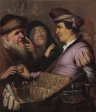 Uit dezelfde serie van de jonge Rembrandt: 'De Brillenverkoper' (Zicht). Eigendom van De Lakenhal in Leiden
