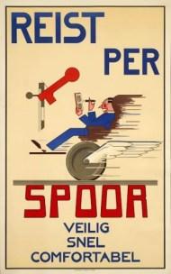 Affiche Reist per spoor, N.J. van de Vecht, ca. 1932 (Spoorwegmuseum)
