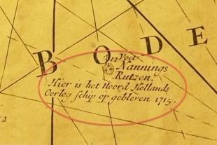 Zeekaart met de locatie van het wrak 1715. (Maritiem Museum Rotterdam) / Sea chart with the location of the wreck 1715. (Rotterdam Maritime Museum)