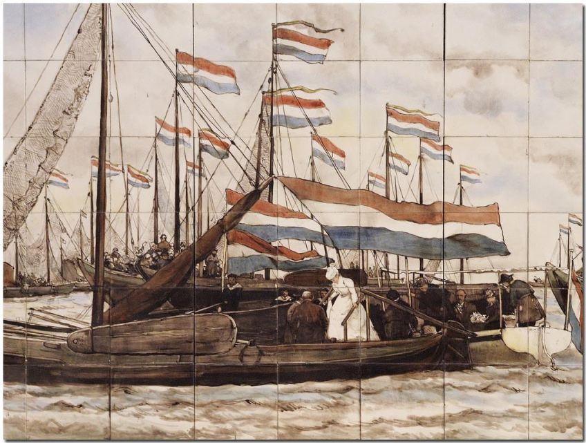 Koningin Wilhelmina stapt aan boord van een botter tijdens de vlootschouw van 3 augustus 1900