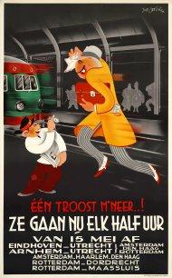 Affiche halfuursdienst, Joop Geesink, 1939 (Spoorwegmuseum)