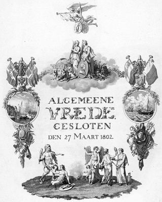 Allegorie op de vrede gesloten te Amiens op 27 maart 1802, tussen de Bataafse Republiek en Frankrijk en Groot-Brittannië.