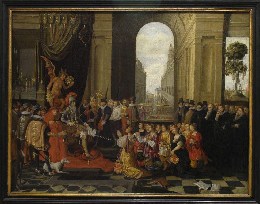 'Afbeeldinghe van den ellendighen staet der Nederlanden' met links Alva op de troon