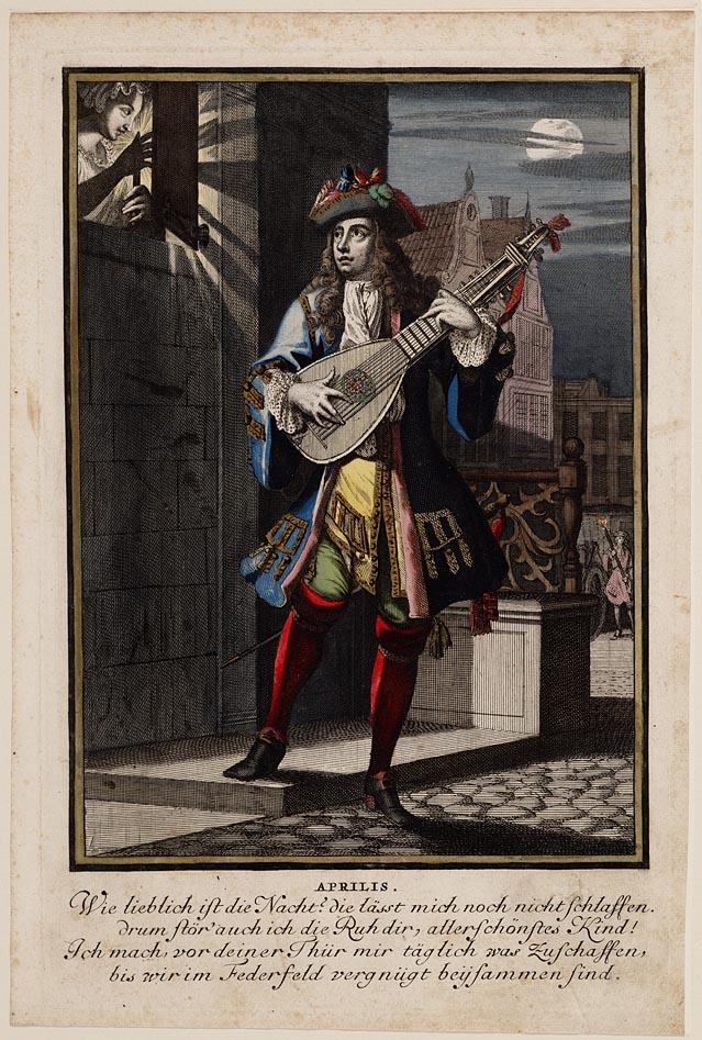 Casper Luyken, Aprilis, uit serie Twaalf maanden van het jaar, 1700. Gravure en ets, gouache. Collectie Amsterdam Museum A_44731