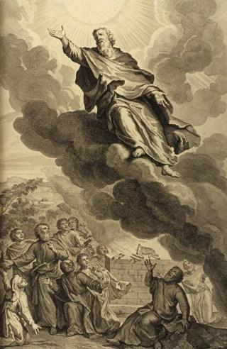 Illustratie van Henoch die ten hemel vaart uit Figures de la Bible (1728).