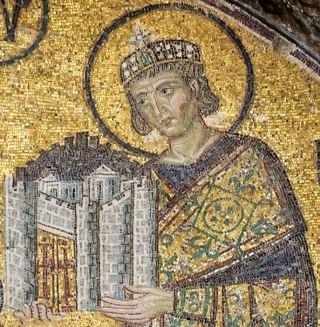 Mozaïek van Constantijn in de Hagia Sophia, ca. 1000. Bron: Wikimedia