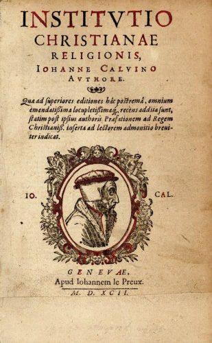 Titelblad van Calvijns Institutie