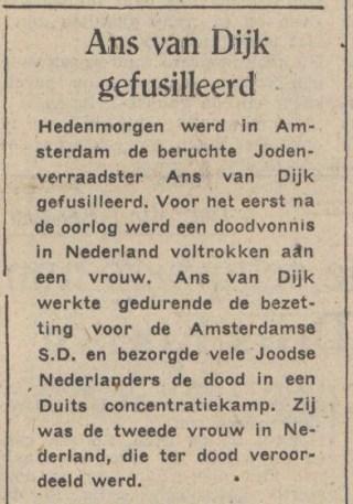 Bericht in De Waarheid (bron: Delpher)