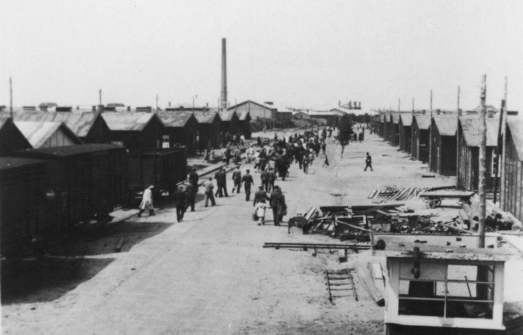 De 'Boulevard des Misères', zoals de hoofdweg door de kampgevangenen werd genoemd. Langs deze weg lag de spoorlijn en vertrokken in de Tweede Wereldoorlog de treinen naar de vernietigingskampen in het oosten. (Kamp Westerbork)