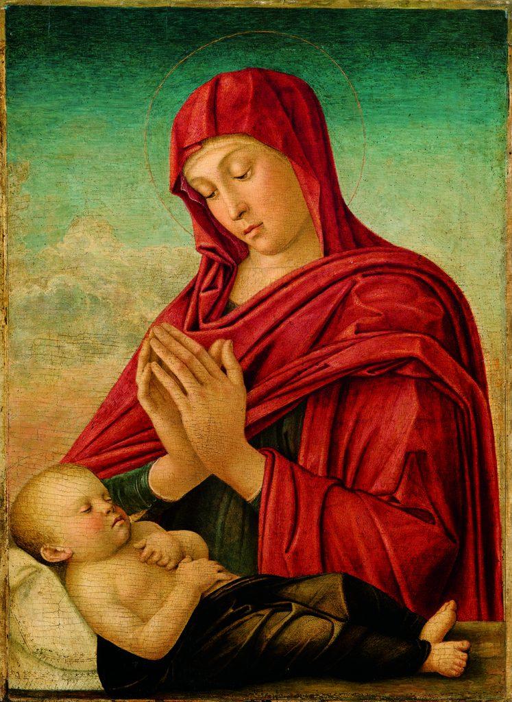 Giovanni Bellini, Madonna in het rood, ca. 1505, olieverf op paneel, Fondazione Sorlini, Pinacoteca Tosio Martinengo, Brescia