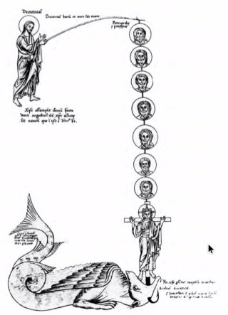 Christus hengelt zielen uit de muil van de draak. Miniatuur uit Hortus deliciarum, 1175-1195 (Afb. Vantilt)