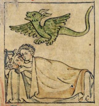 Draak als teken van zonde. Miniatuur uit Nectanebo engendrando, 1300-1400 (Afb. Vantilt)