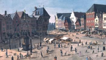 Aquarel Bossche Markt Noordzijde, door Von Bonstetten, mei 1818. Bron: www.thuisinbrabant.nl