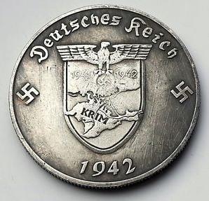 Duitsland liet in 1942 zelfs een munt van 5 Reichsmark vervaardigden mt een afbeelding van de Krim.