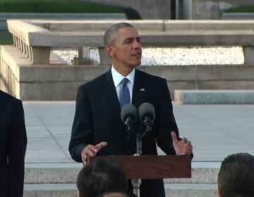 Obama bij het monument in Hiroshima