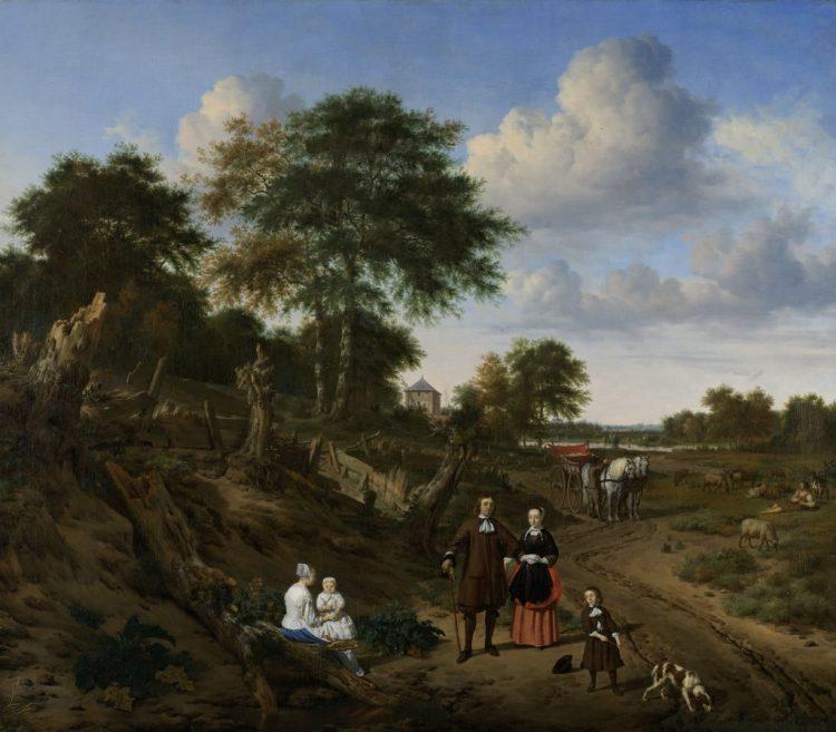 Adriaen van de Velde, Portret van een echtpaar met twee kinderen en een min in een landschap, 1667. Collectie Rijksmuseum. Bruikleen van de gemeente Amsterdam (legaat A. van der Hoop)
