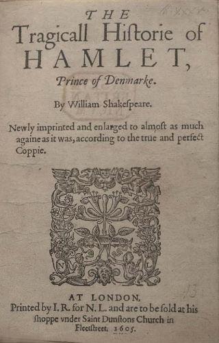 Titelpagina William Shakespeare, Hamlet. Bron: Wikimedia.
