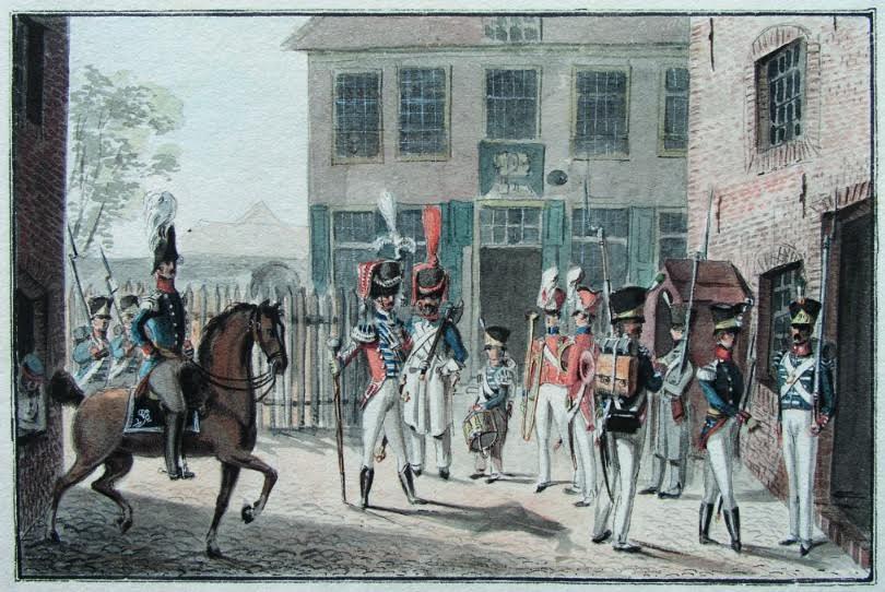 Aquarel door Von Bonstetten van Regiment no 29 - Den Bosch. Bron: boek.