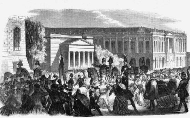Koning Frederik Willem iv maakt daags na de revolutie een rit door de stad, om zijn verzoeningsgezindheid te tonen.