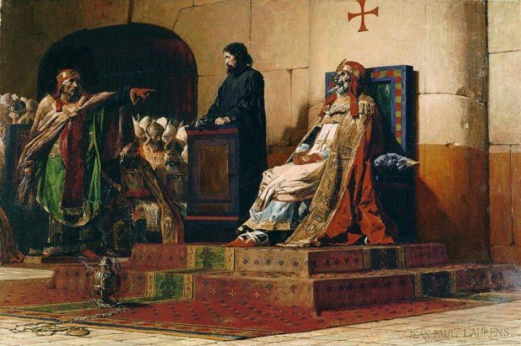 De veroordeling van paus Formosus. Schilderij van Jean Paul Laurens, uit 1870. Bron: Wikimedia