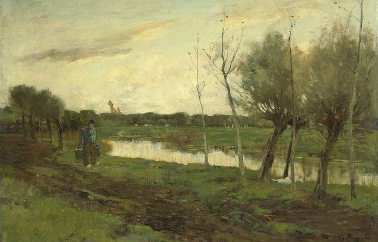 Geo Poggenbeek - Landschap met een vaart