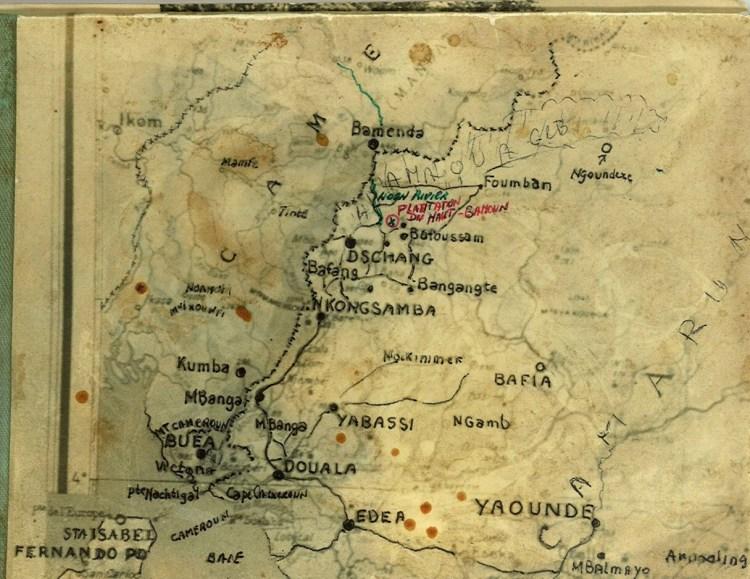 Door Jan van Bommel bewerkte map van de omgeving van de plantage