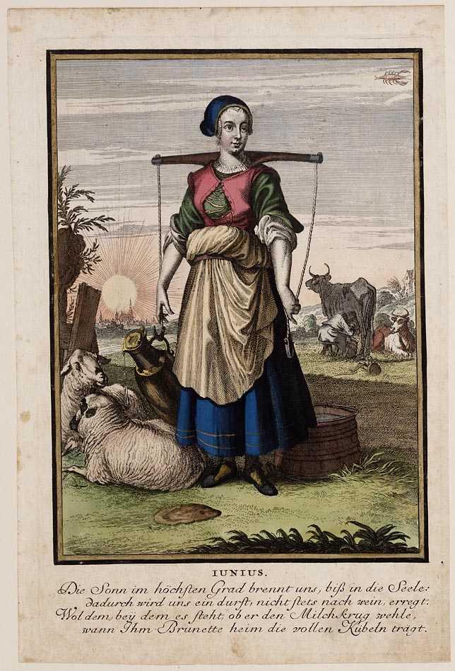 Casper Luyken, Iunius, 1700, ets en gravure afgezet met waterverf. Collectie Amsterdam Museum, A 44733.