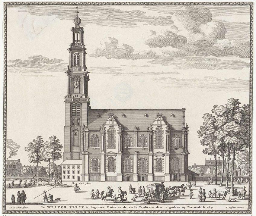 Pieter Hendricksz. Schut, Gezicht op de Westerkerk, ca. 1630-79. Collectie Rijksprentenkabinet, RP-P-1904-1347