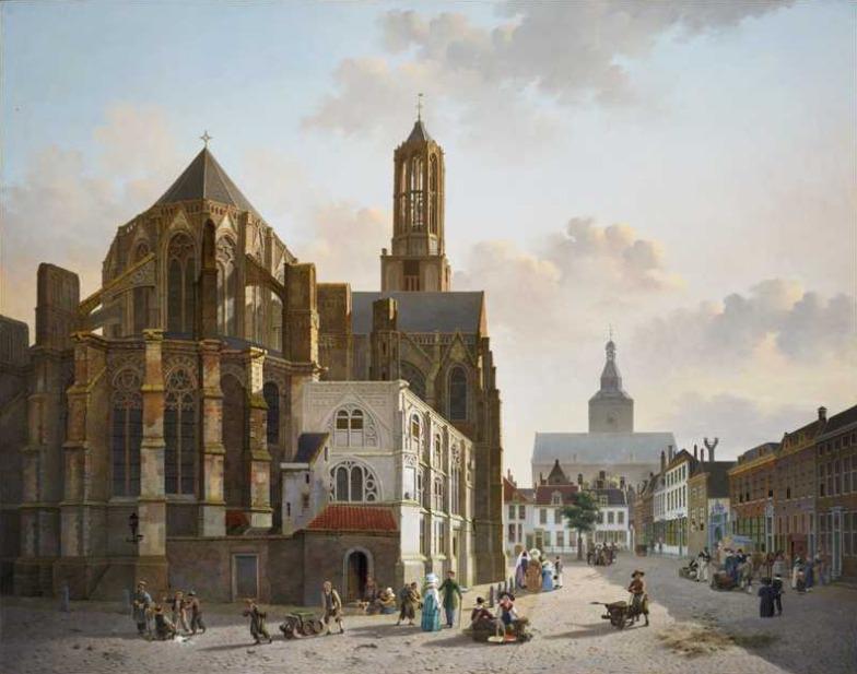 Gezicht op het koor en de toren van de Domkerk te Utrecht (ca. 1829) Jan Hendrik Verheyen.