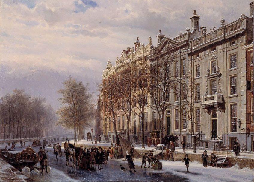 De bocht in de Herengracht, 1882. Schilder: Cornelis Springer (1817-05-25 - 1891-02-20).