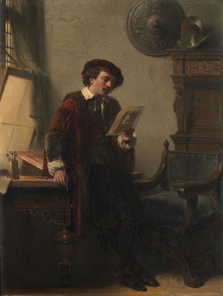 Rembrandt in zijn atelier, 1852. Schilder: Nicolaas Pieneman (1809-01-01 - 1860-12-30).