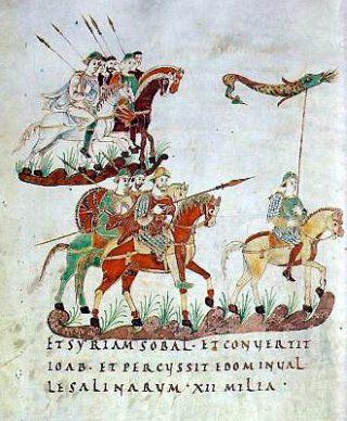 Karolingische ruiterij uit het Psalterium Aureum. Bron: St. Gallen, Stiftsbibliothek, Cod. 22, saec. IXex, p. 140.