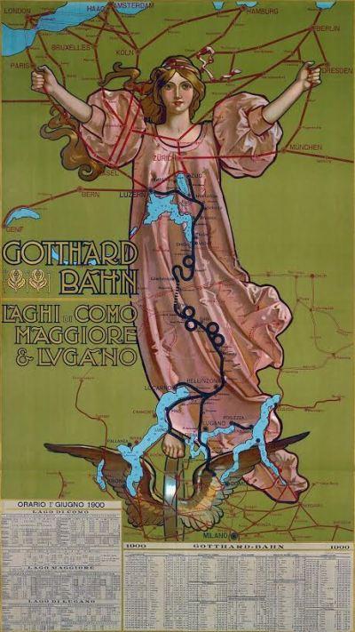 Affiche Gotthardbahn, Gabriele Chiattone, 1900