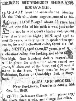 Briefje waarop de beloning staat voor het terugbrengen van Harriet ('Minty') en haar broers.